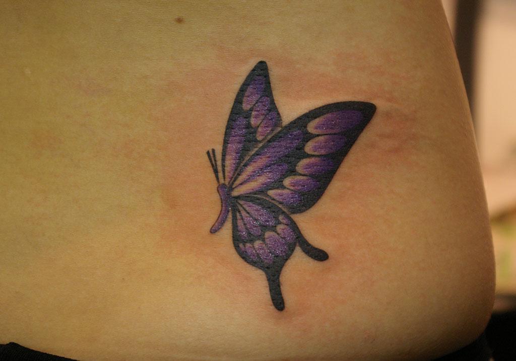 紫と黒色の蝶