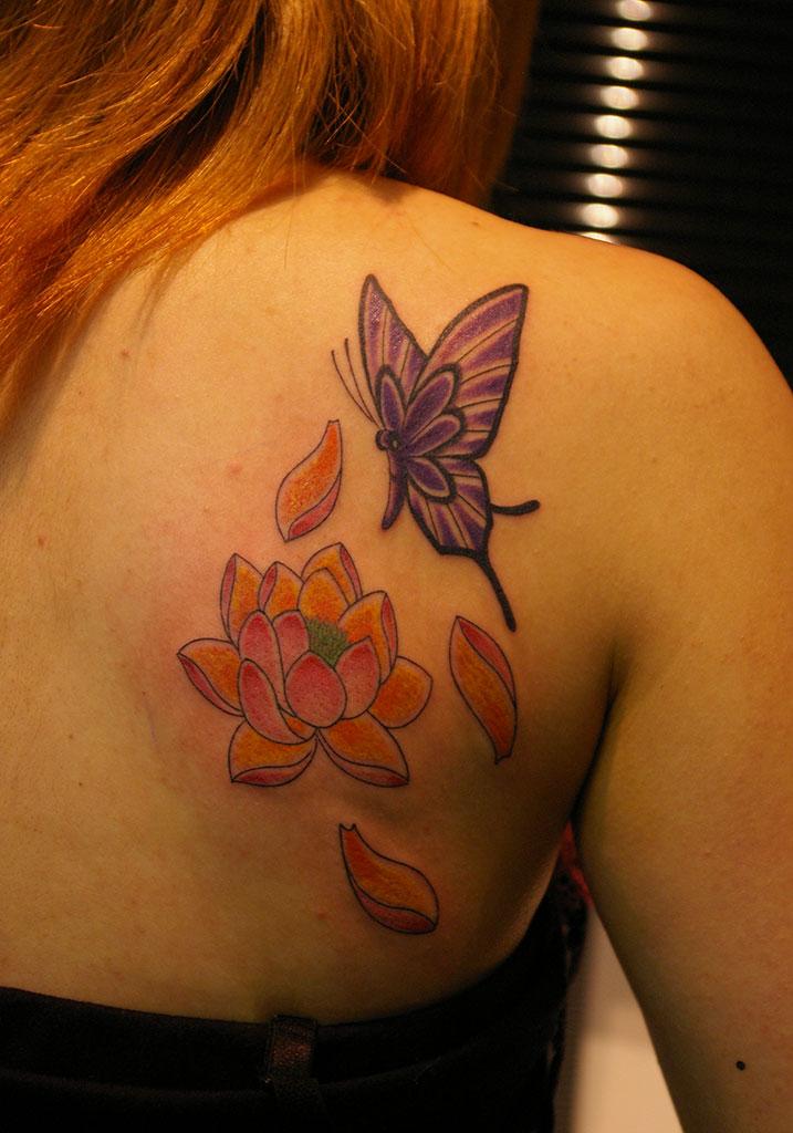 紫の蝶と蓮