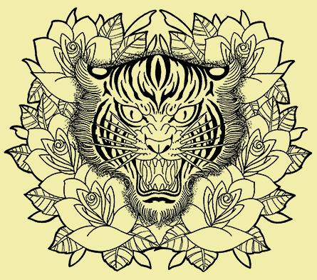 虎の顔と薔薇
