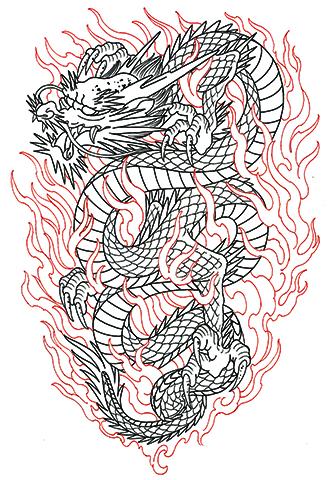 龍と燃え盛る炎