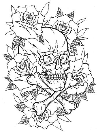 クロスボーンスカルと薔薇