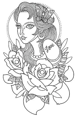 蝶の髪飾りをつけた女性