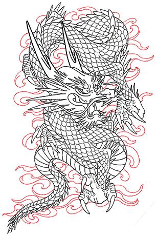 三本爪の龍と炎