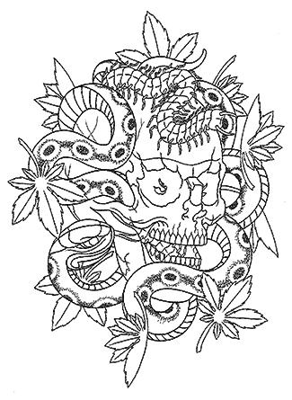 スカルと蛇とムカデとモミジ