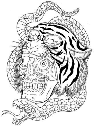 虎のマスクを被るスカルと蛇