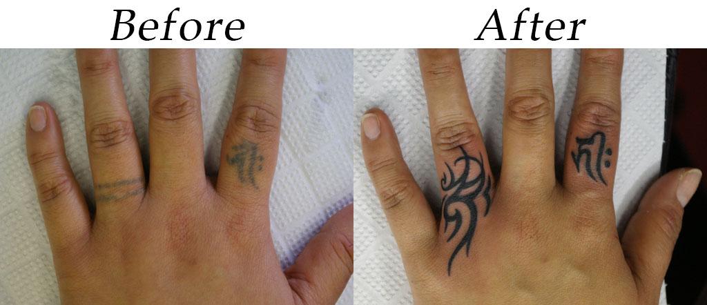 指の梵字とトライバルのカバーアップ