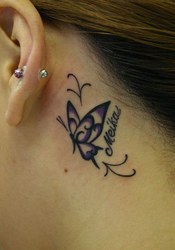 蝶のトライバルと文字