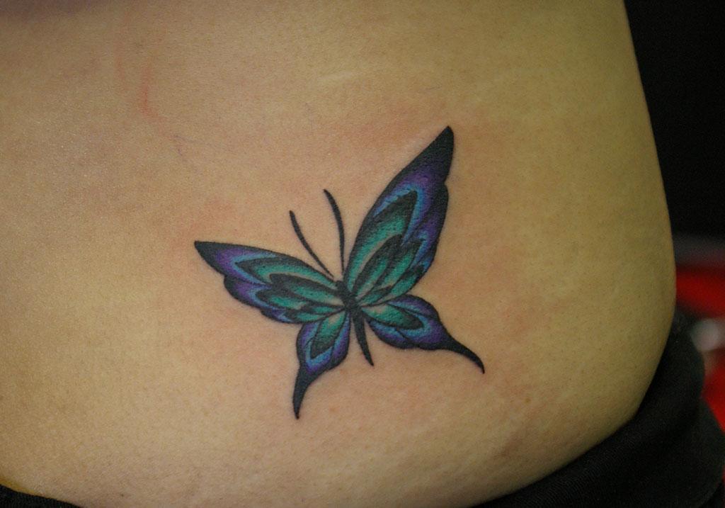 緑から紫グラデーションの蝶