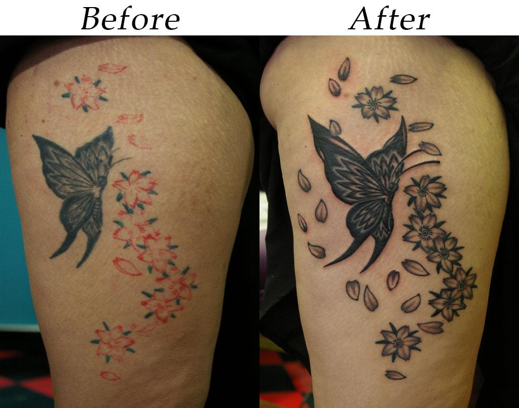 蝶と桜のタッチアップ