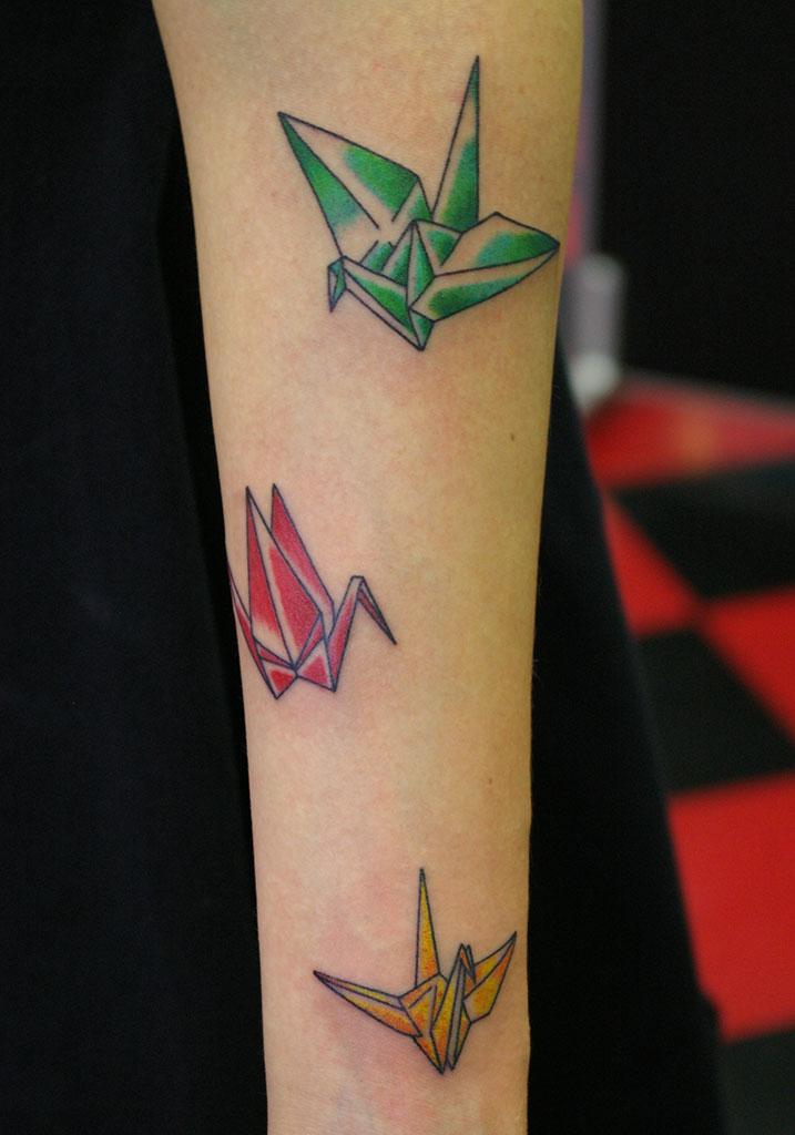 3色の折り鶴