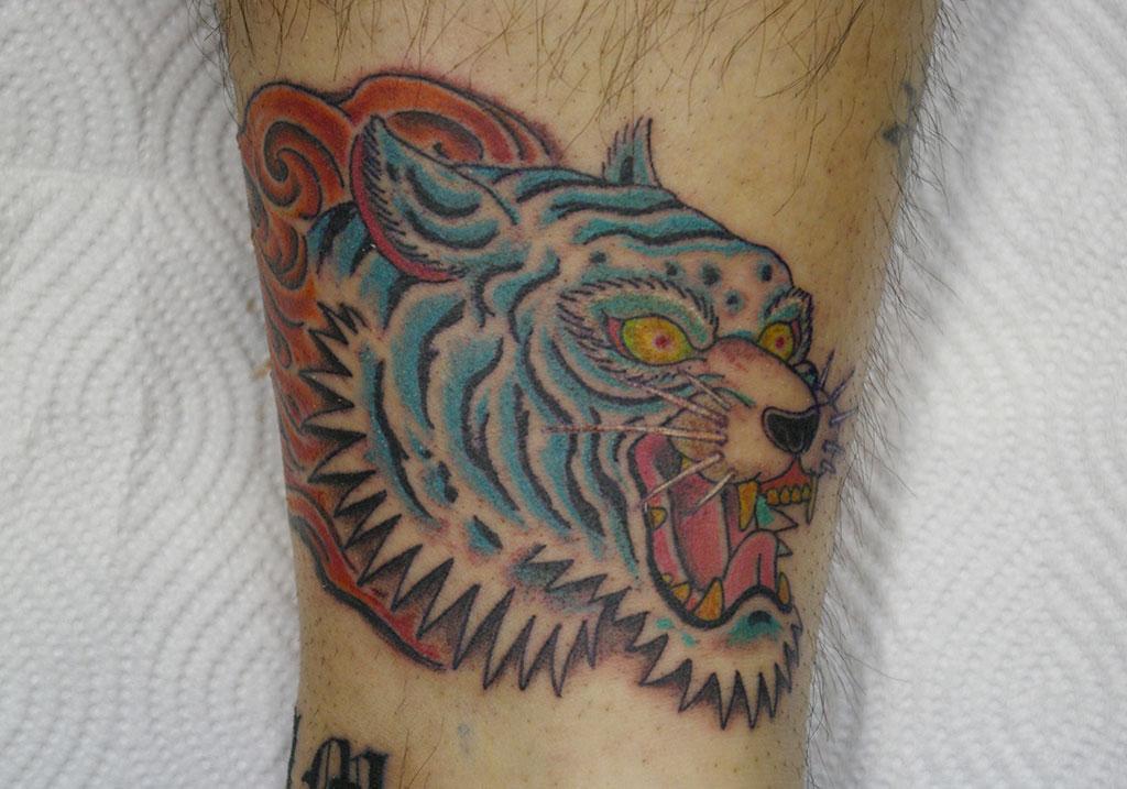 虎の顔と炎