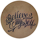 筆記体「Believe myself」